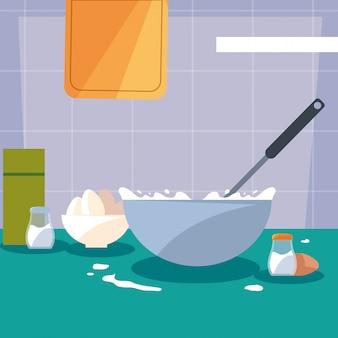 Kochen mit küchentopf und eiern