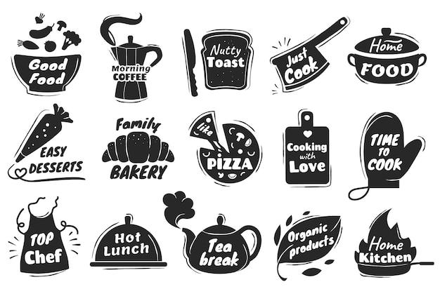 Kochen schriftzug logo küchenutensilien emblem home backen abzeichen vektor set