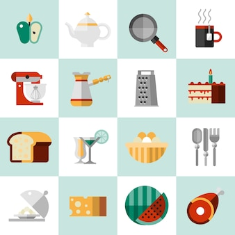Kochen von lebensmitteln icons