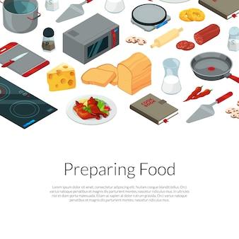 Kochen von lebensmitteln isometrische elemente vorlage
