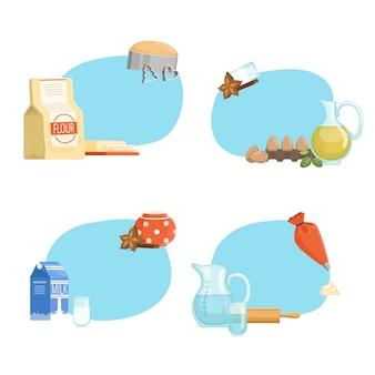 Kochen von zutaten oder lebensmittelaufklebern mit platz für textsatz