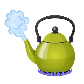 Kochendes wasser im aluminiumkessel auf realistischer vektorillustration der gasflamme. stream aus offenem küchenutensil, teezubereitung