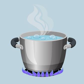 Kochendes wasser im aluminiumtopf auf realistischer vektorillustration der gasflamme. stream aus offenen küchenutensilien aus gekochter suppe auf dem herd