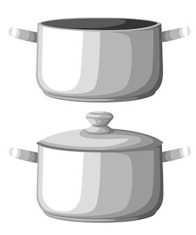 Kochendes wasser in der pfanne. kochtopf auf dem herd mit wasser und dampf bügeln. grafikelemente. illustration. website-seite und mobile app
