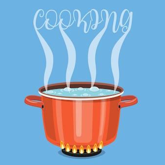 Kochendes wasser in der pfanne.