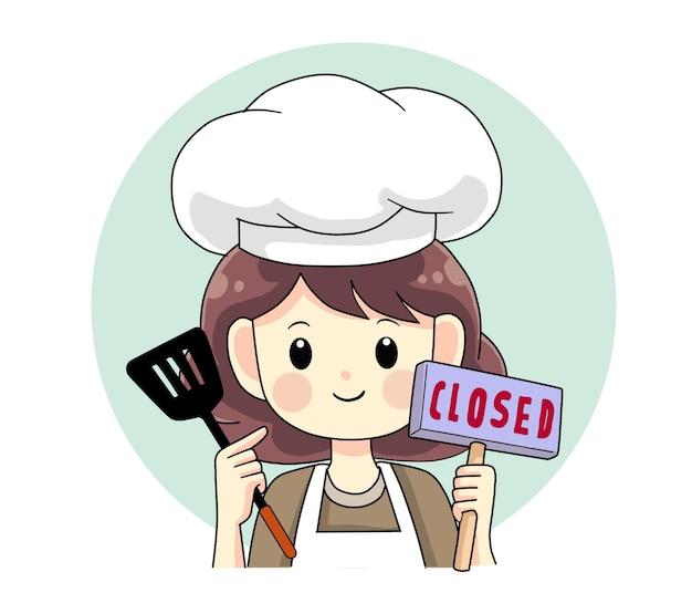Kochfrau mit spachtel und geschlossenem bannerlogo