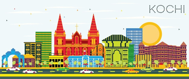 Kochi india city skyline mit farbgebäuden und blauem himmel. vektor-illustration. geschäftsreise- und tourismuskonzept mit historischer architektur. kochi-stadtbild mit sehenswürdigkeiten.
