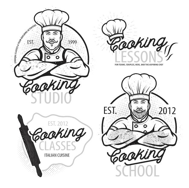 Kochkurs-vorlagenlogo mit poster im modernen design des chefkochs