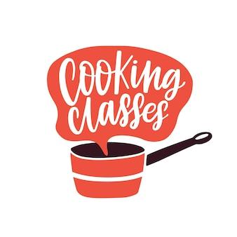 Kochkurse, die flache illustration beschriften