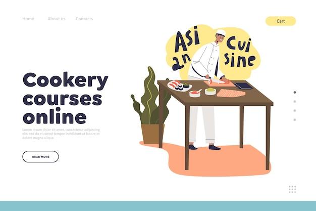 Kochkurse online-konzept der landingpage mit männlichem kochkoch, der sushi, traditionelles asiatisches essen zubereitet. zubereitung der japanischen küche. flache vektorillustration der karikatur
