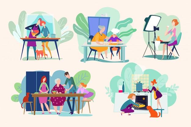 Kochleute, die essen kochen, kochen charakter frau oder mann kocher, geschirr auf küchenillustrationen gesetzt. bäcker, leute auf kulinarischem videokurs, essenszubereitung mit kindern und großeltern.