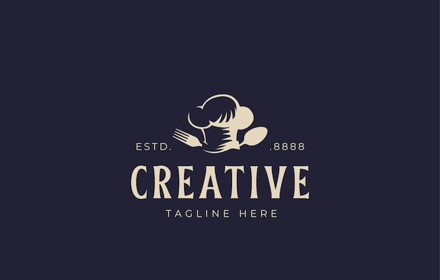Kochmütze löffel gabel logo designvorlage