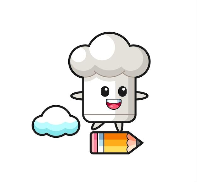 Kochmütze maskottchen illustration, die auf einem riesigen bleistift reitet, niedliches design für t-shirt, aufkleber, logo-element