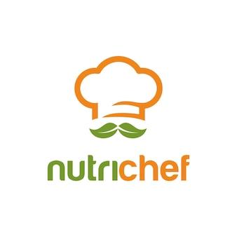 Kochmütze mit blättern einfaches kreatives geometrisches schlankes modernes logo-design