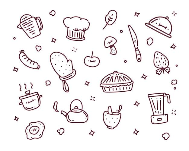 Kochobjektillustration. kochen doodle-stil