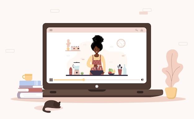 Kochschule. online kulinarische meisterklasse. afrikanisches mädchen, das hausgemachte mahlzeiten zum mittag- oder abendessen vorbereitet. der küchenchef unterrichtet kochen. zu hause lernen. flache karikaturillustration.