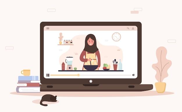 Kochschule. online kulinarische meisterklasse. arabisches mädchen im hijab, das hausgemachte mahlzeiten zubereitet