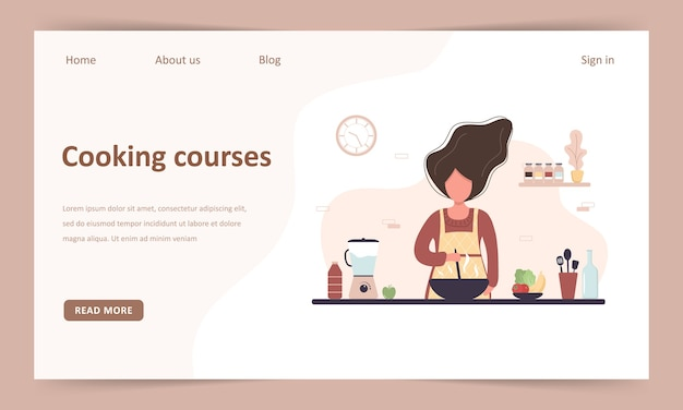 Kochschule. online kulinarische meisterklasse. landingpage-vorlage. mädchen, das hausgemachte mahlzeiten zum mittag- oder abendessen vorbereitet. der küchenchef unterrichtet kochen. zu hause lernen. flache karikaturillustration.