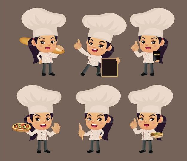 Kochset mit verschiedenen posen