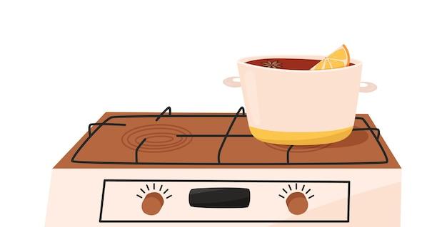 Kochtopf mit glühwein auf einem elektroherd isoliert auf weiss haushaltsgeräte für die küche
