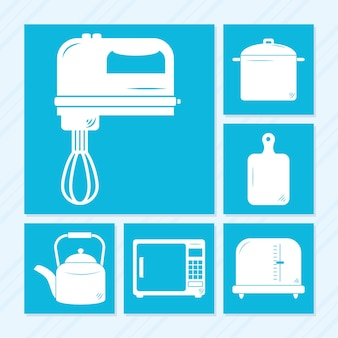 Kochutensilien icon set design