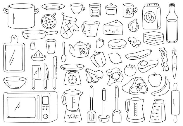 Kochwerkzeuge und zutaten. essen vorbereiten, küche kochgeschirr und utensilien. umreißen sie löffel, messer, schüssel und teller. kulinarisches vektor-doodle-set. geräte wie mikrowelle und mixer