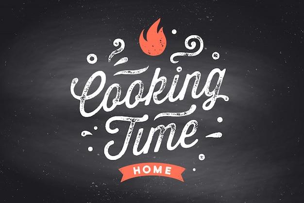 Kochzeit. küchenplakat. küchenwanddekor, zeichen, zitat. plakat für küche mit kalligraphie-beschriftungstext kochzeit auf schwarzer tafel. vintage typografie. illustration