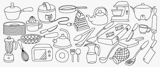 Kochzeug handgezeichnete skizzensatz