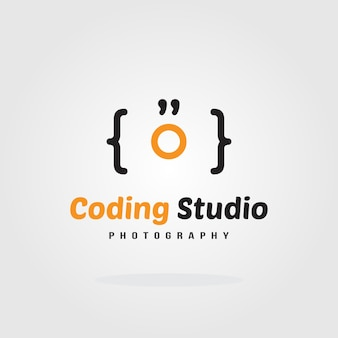 Kodierungs-studio logo design template - kamerakonzept. software-firmenlogo-schablonendesign. vektor-illustration. software-entwicklung, software-anwendung, entwicklung mobiler anwendungen.