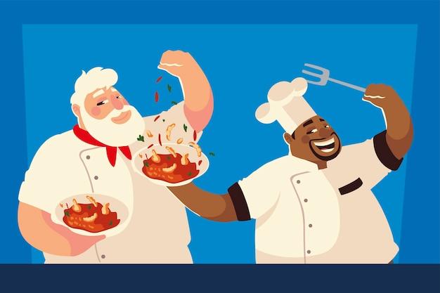 Köche, die rezept suppe arbeiter restaurant vektor-illustration vorbereiten