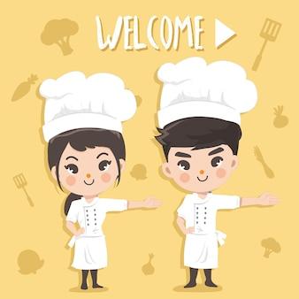Köche stehen den kunden willkommen