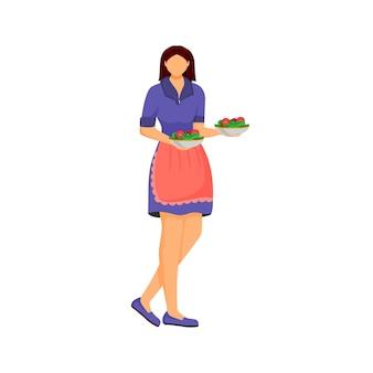 Köchin mit geschirr flach design farbe gesichtslosen charakter