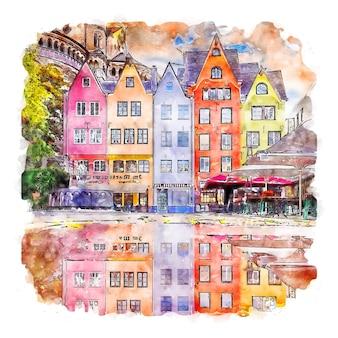Köln deutschland aquarellskizze handgezeichnete illustration