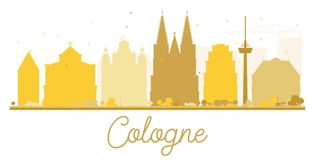 Kölner skyline goldene silhouette. vektor-illustration. einfaches flaches konzept für tourismuspräsentation, banner, plakat oder website. stadtbild mit wahrzeichen