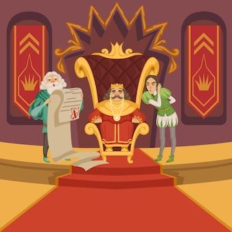 König auf dem thron und sein gefolge. comic-figuren festgelegt