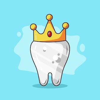 König dental cartoon-vektor-illustration