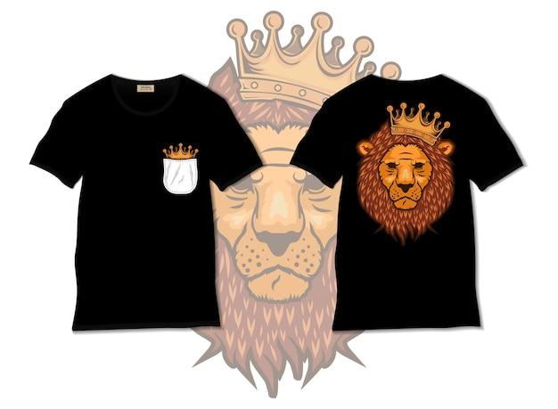 König der löwen illustration mit t-shirt design, hand gezeichnet
