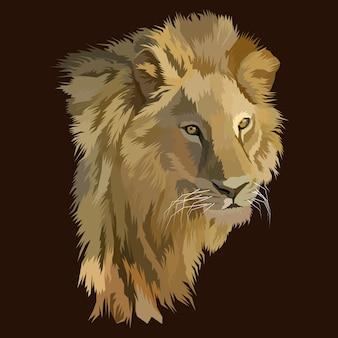 König der löwen pop-art-porträt Premium Vektoren
