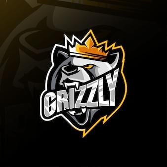König grizzly maskottchen logo
