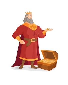 König hält eine goldmünze in seinen händen. schatz des goldreichtums mit hellen glitzern, münzen verstreut.