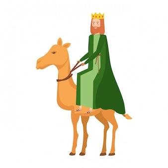 König in kamel krippe charakter