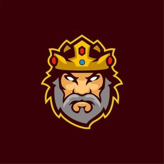 König kopf cartoon logo vorlage illustration esport logo gaming premium vektor