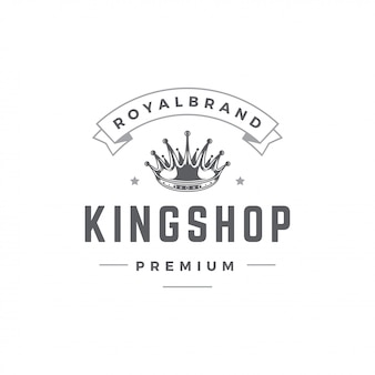 König krone emblem vorlage mit typografie.