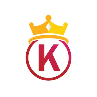 König krone logo vorlage mit buchstabe k symbol