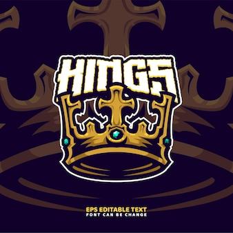König krone maskottchen logo vorlage Premium Vektoren