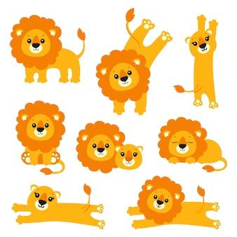 König löwe set wildtier-cartoon-figur