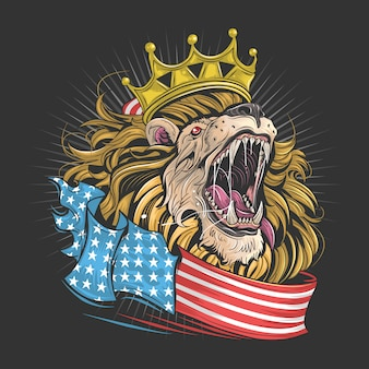 König löwe von amerika mit usa flagge kunstwerk