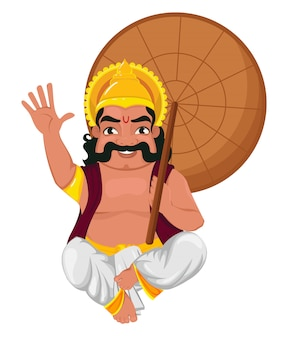 König mahabali, der regenschirm sitzt und hält