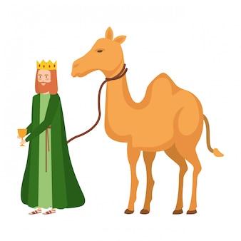 König mit kamelkrippe