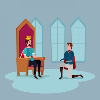 König mit prinz im schloss innen